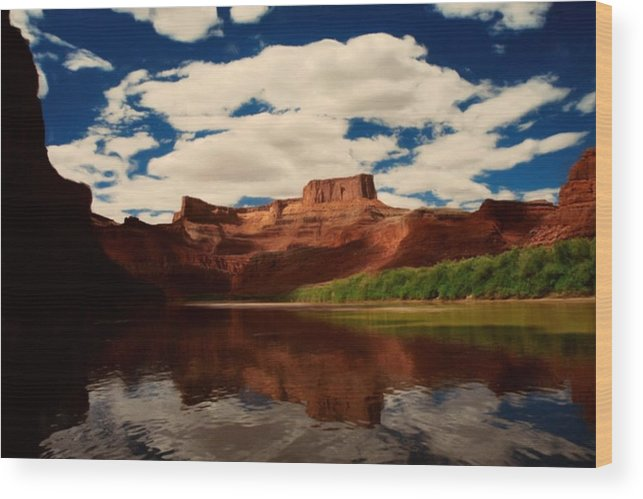 Digital Wood Print featuring the painting Red Mountain by Lori DeBruijn
