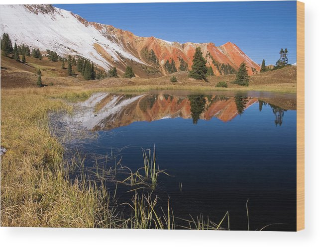 Colorado Wood Print featuring the photograph Red Mountain Reflection by Steve Stuller