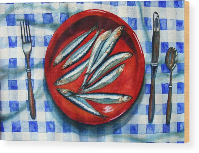 Still Life Wood Print featuring the painting Red Plate Special by Gail Zavala
