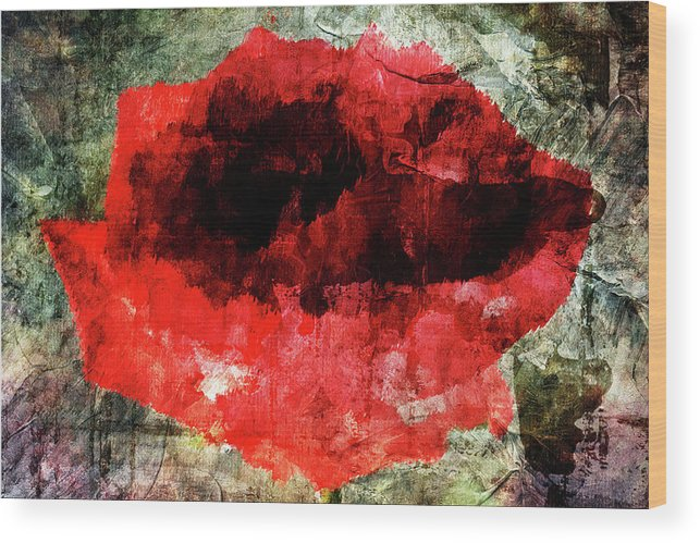 Rose Wood Print featuring the digital art Red Rose by Andrea Barbieri