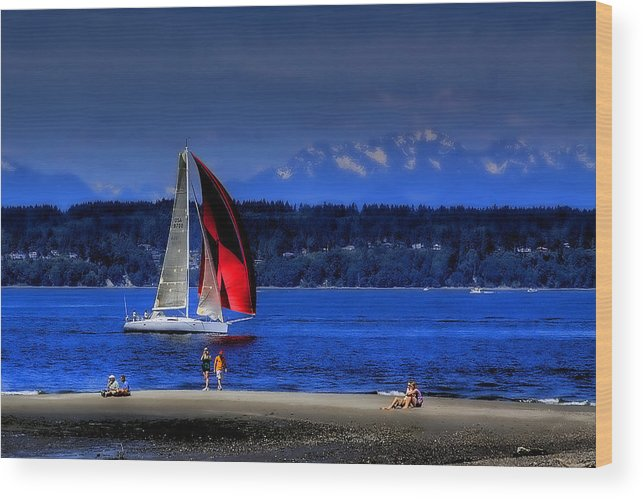 Discovery Park Wood Print featuring the photograph Red Sail by David Patterson