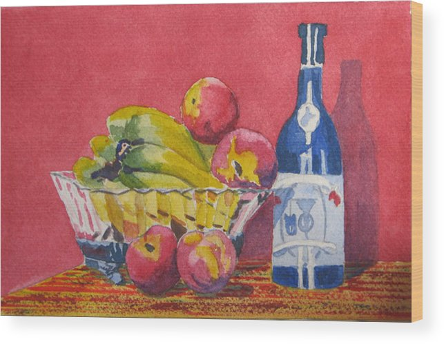 Fruit Wood Print featuring the painting Red Wall Blue Wine by Libby Cagle