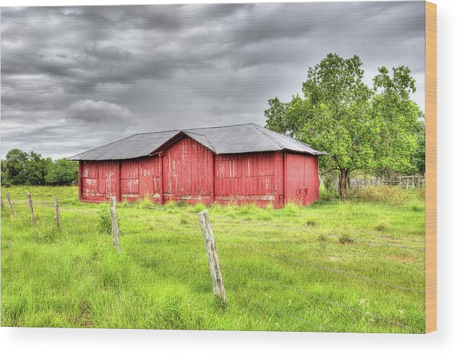 Landscape Wood Print featuring the photograph Red Wood Barn - Edna, Tx by Greg Vajdos
