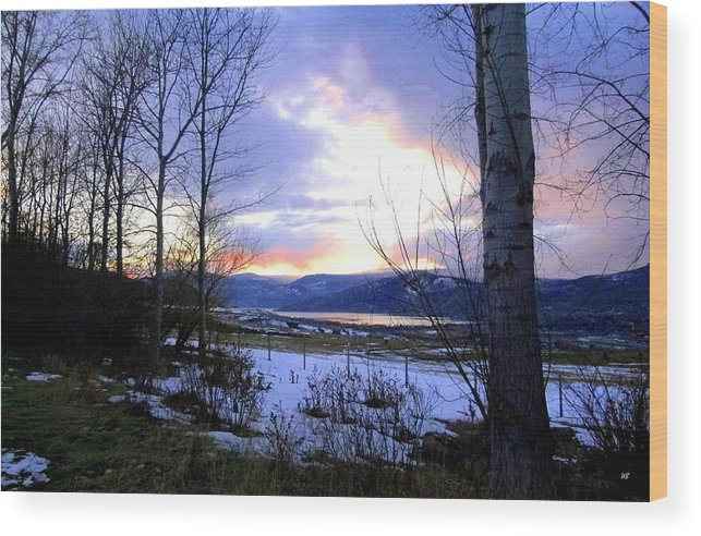 Sunset Wood Print featuring the photograph Reflections On Lake Okanagan by Will Borden