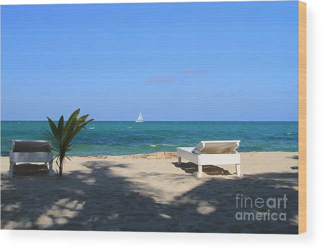 Beach Wood Print featuring the photograph Relax And Enjoy by Edward R Wisell