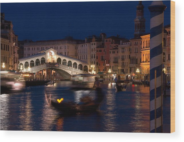 Venice Wood Print featuring the photograph Rialto Bridge In Venice At Night With Gondola by Michael Henderson