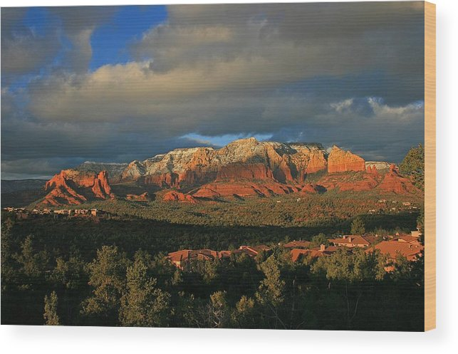 Sedona Wood Print featuring the photograph Rim Glow by Gary Kaylor