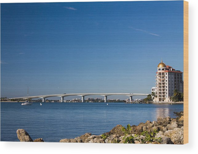 Marina Jacks Wood Print featuring the photograph Ringling Bridge, Sarasota, Fl by Michael Tesar