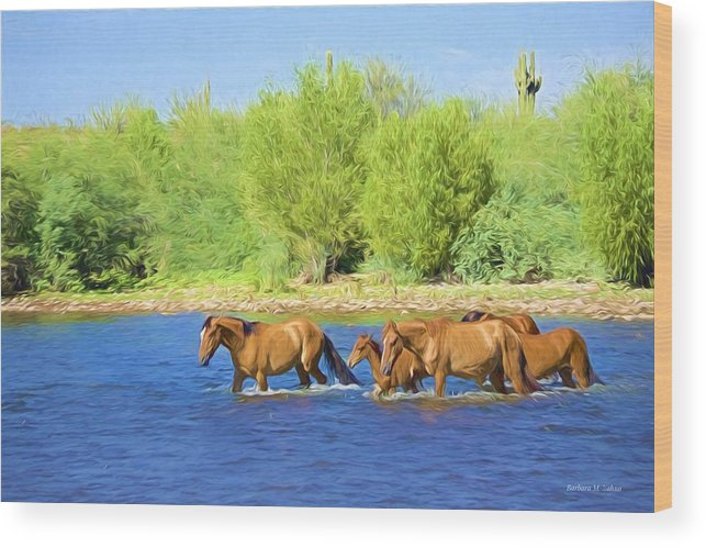 Wild Horses Wood Print featuring the photograph River Crossing by Barbara Zahno
