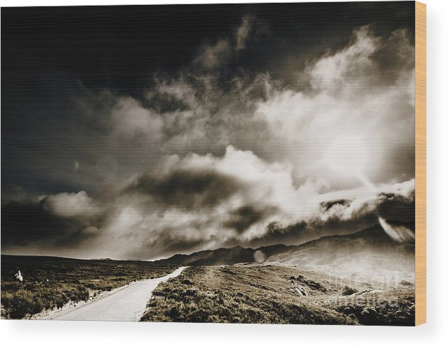Dark Wood Print featuring the photograph Road Storm by Jorgo Photography - Wall Art Gallery
