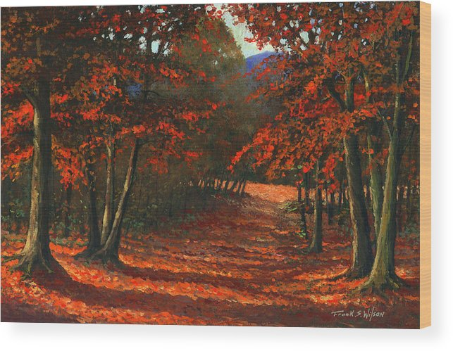 Landscape Wood Print featuring the painting Road To The Clearing by Frank Wilson