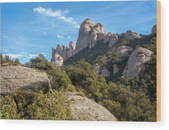 Montserrat Wood Print featuring the photograph Rock Formations Montserrat Spain II by Joan Carroll
