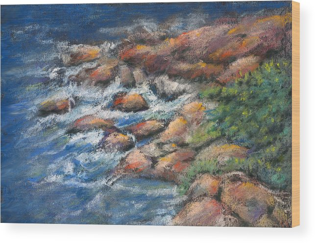 Rocks Wood Print featuring the pastel Rocks Along The Shore by Arline Wagner