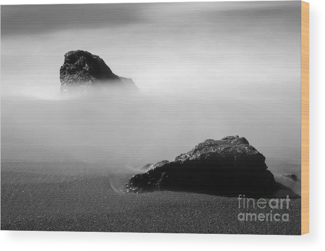 Water Wood Print featuring the photograph Rocks On Beach by Catherine Lau