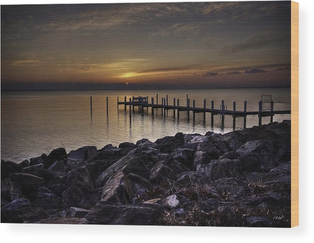 Pier Wood Print featuring the photograph Rocky River by E R Smith
