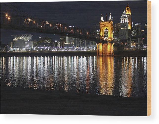 Bridge Wood Print featuring the photograph Roebling Bridge by Tonya Peters