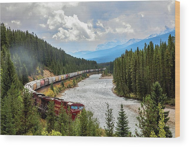 Rocky Mountains Wood Print featuring the photograph Rollin Down The Track by Sandy Chinski