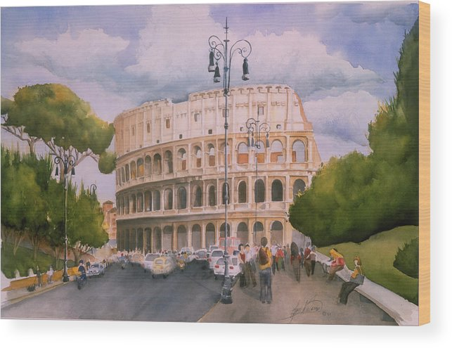 Italy Wood Print featuring the painting Roman Holiday- Colosseum by Leah Wiedemer