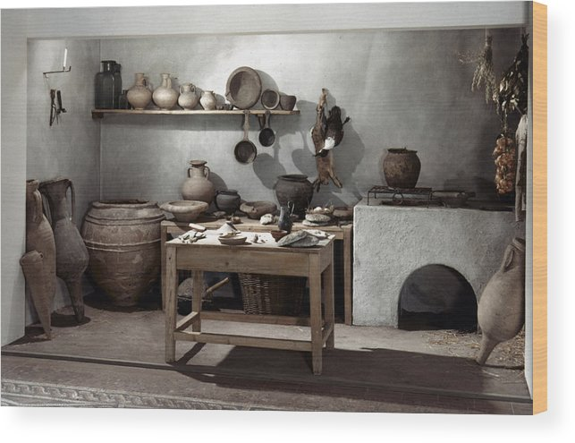 100 Wood Print featuring the photograph Roman Kitchen, 100 A.d by Granger