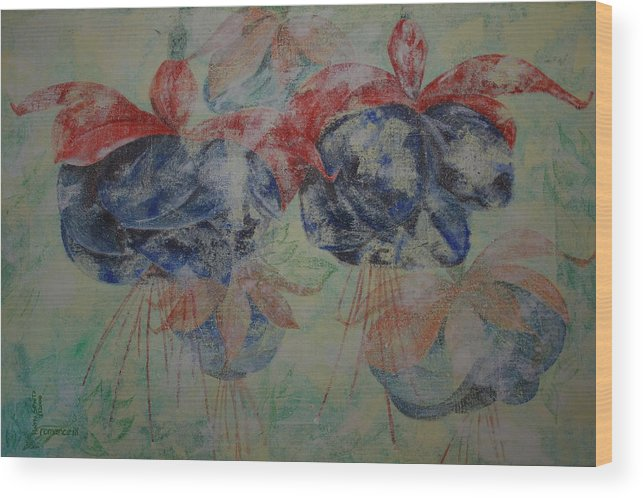 Flowers Wood Print featuring the painting Romance 3 by Harri Spietz