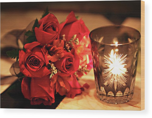 Romantic Red Roses In Candle Light Wood Print