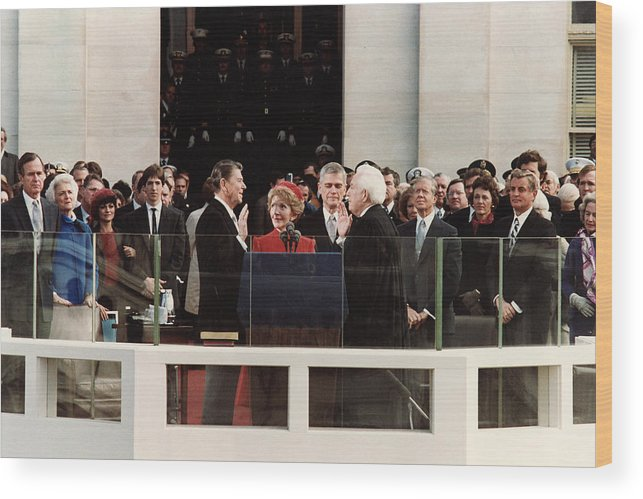 President Reagan Wood Print featuring the photograph Ronald Reagan Inauguration - 1981 by War Is Hell Store