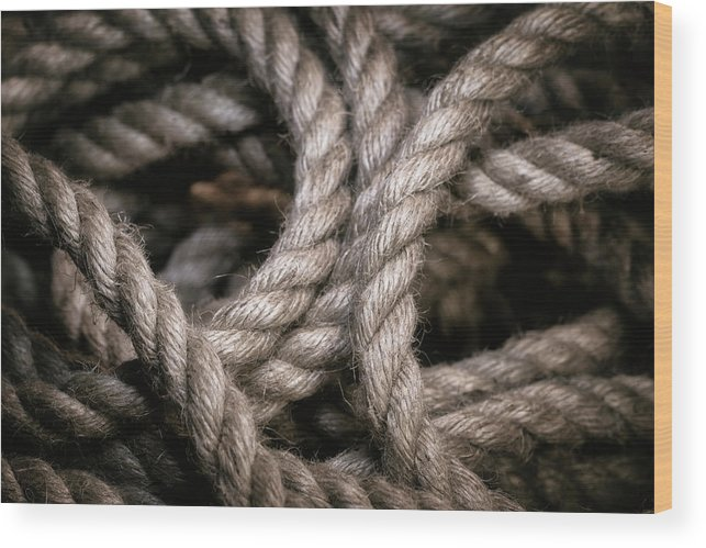 Abstract Wood Print featuring the photograph Rope Abstract by Tom Mc Nemar