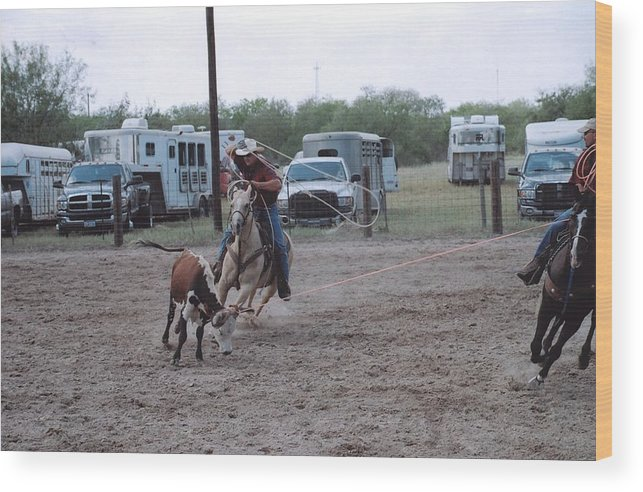 Horse Wood Print featuring the photograph Roping Event 3 by Wendell Baggett