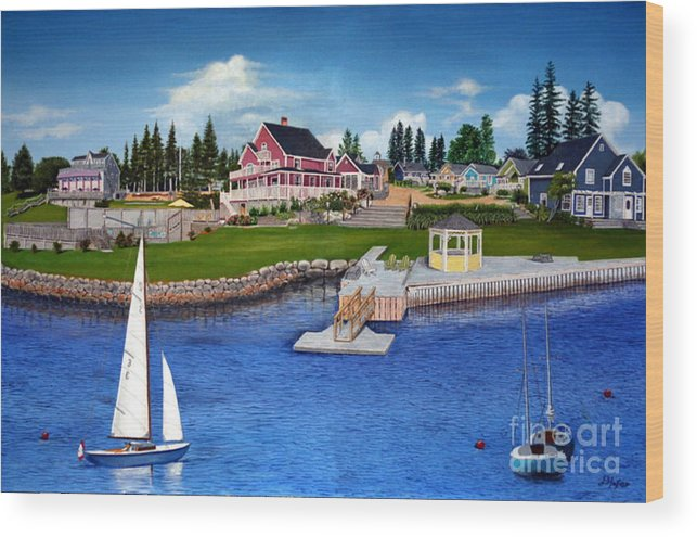Landscape Wood Print featuring the painting Rosewood Cottages Nova Scotia by Donald Hofer