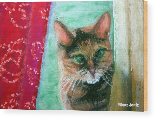 Cat Wood Print featuring the painting Rosy In Color by Minaz Jantz