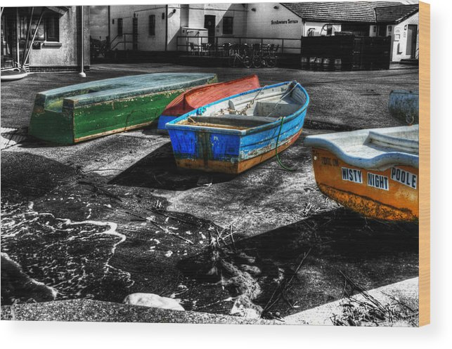 Rowing Wood Print featuring the photograph Row Boats At Mudeford by Chris Day