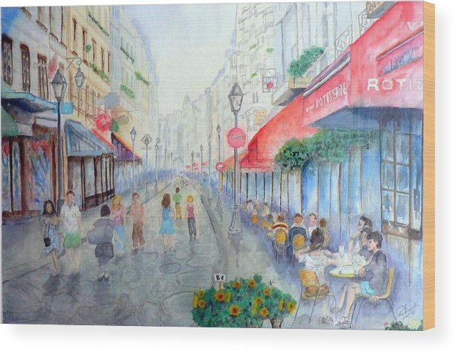 Late Afternoon Streetscape Wood Print featuring the painting Rue Montorgueil Paris Right Bank by Dan Bozich