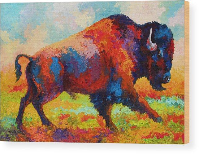 Bison Wood Print featuring the painting Running Free by Marion Rose