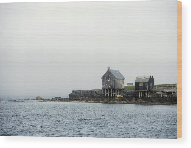 Aerial View Wood Print featuring the photograph Rustic Cabin On Stilts On Rocky Shore by Gillham Studios