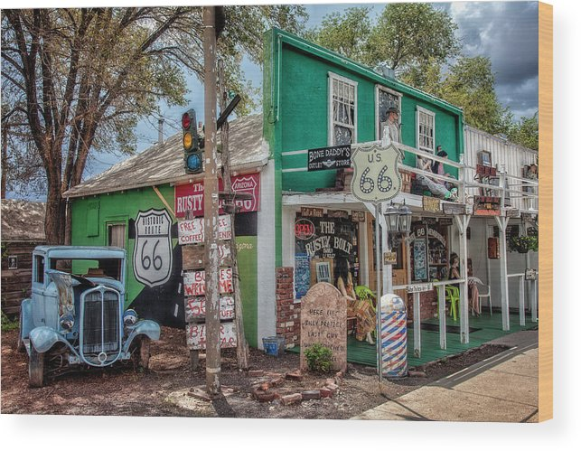 66 Wood Print featuring the photograph Rusty Bolt Seligman Az by Diana Powell