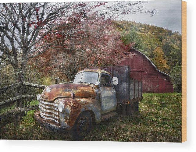 American Wood Print featuring the photograph Rusty Chevy Pickup Truck by Debra and Dave Vanderlaan