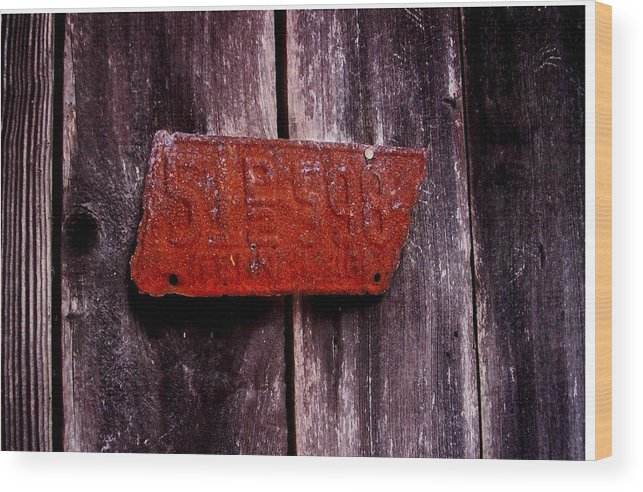 Wood Print featuring the photograph Rusty License Plate by Yvonne Rita Roberts