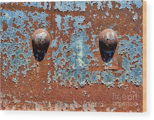 Rivet Wood Print featuring the photograph Rusty Rivets by Olivier Le Queinec