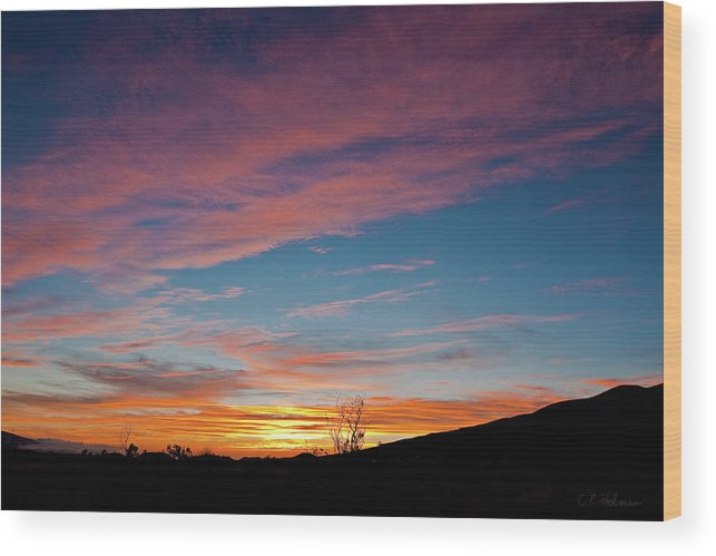Sunset Wood Print featuring the photograph Saddle Road Sunset by Christopher Holmes