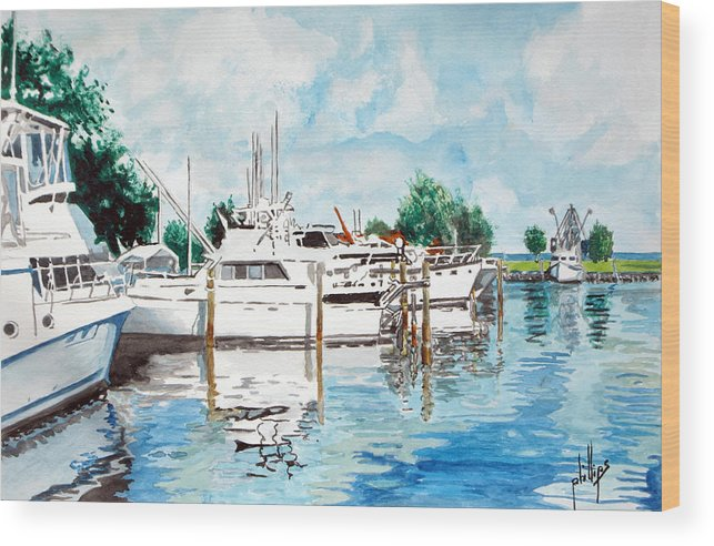 Boats Harbor Coastal Nautical Wood Print featuring the painting Safe Harbor by Jim Phillips