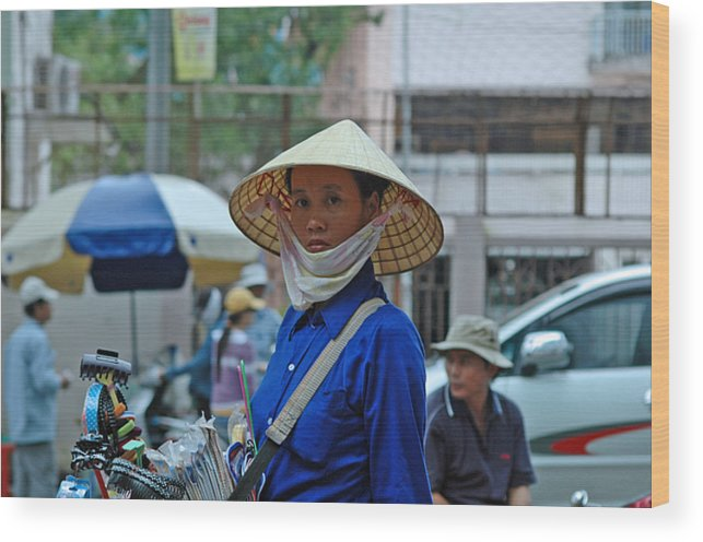 Southeast Asia Wood Print featuring the photograph Saigon Street Vendor by Robert M Brown II