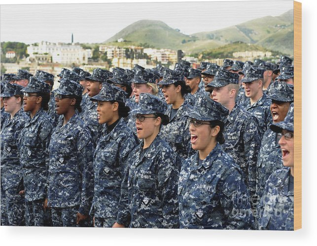 Ethnicity Wood Print featuring the photograph Sailors Yell Before An All-hands Call by Stocktrek Images