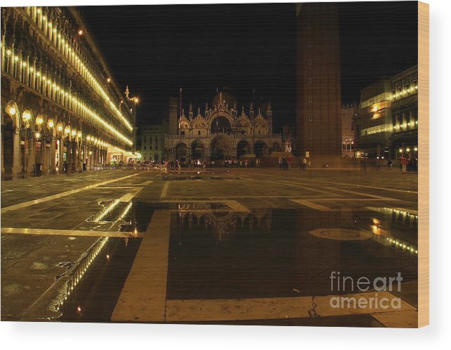Venice Wood Print featuring the photograph San Marco In Venice At Night by Michael Henderson