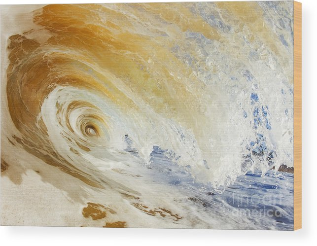 Amazing Wood Print featuring the photograph Sandy Wave Crashing by MakenaStockMedia - Printscapes