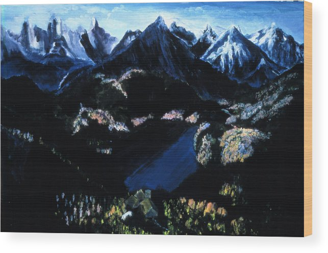 Sapphire Lake  Wood Print featuring the painting Sapphire Lake  by Ione Citrin