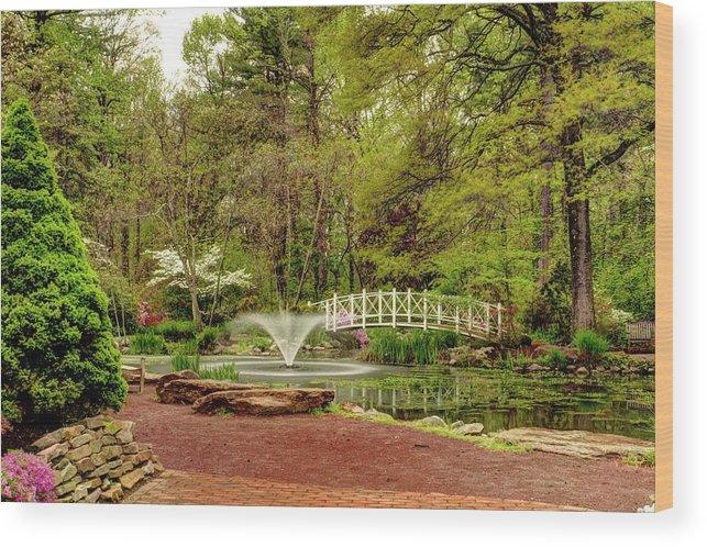 Recent Wood Print featuring the photograph Sayen Gardens Bridge Series by Geraldine Scull