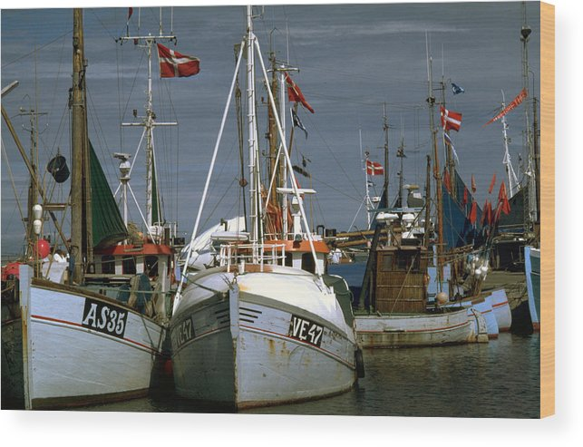 Scandinavian Wood Print featuring the photograph Scandinavian Fisher Boats by Flavia Westerwelle