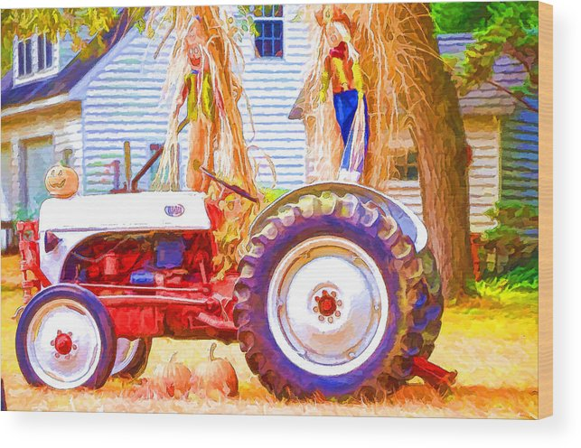 Agricultural Wood Print featuring the painting Scarecrow And Pumpkins by Jeelan Clark