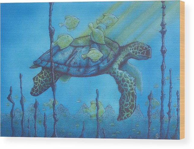 Turtles Wood Print featuring the painting Sea Turtle And Fish by Erik Loiselle