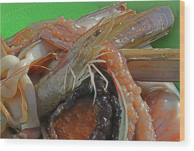 Seafood Wood Print featuring the photograph Seafood by Twenty Forever